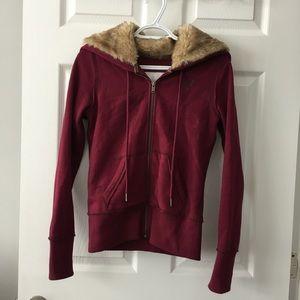 American Eagle faux fur zip hoodie